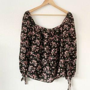 REBECCA TAYLOR Black Floral Tilda Long Sleeve L